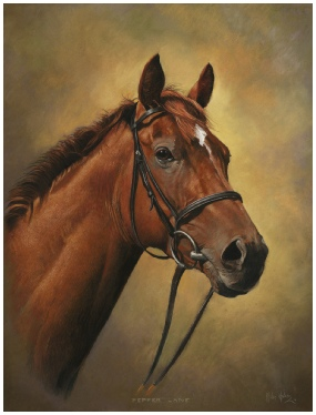 Portrait of Pepper Lane, Winner of the Great St. Wilfred Stakes, Ripon, 2011 and 2012, Horse Pet Portrait by Mike Haken